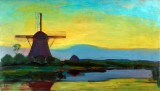 1908 - Oostzijdse Mill with Extended Blue, Yellow, and Purple Sky