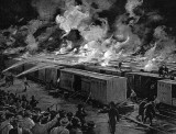 July 6, 1893 - Freight cars burning