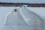Vehicles on winter road heading to Moose Factory 2013 December 23rd.