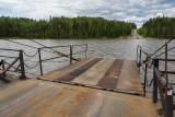 Winch driven ferry Cassiopeia IV crosses the Abitibi River at Gardiner.