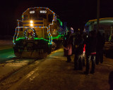 Ontario Northland Railway Christmas Train arriving in Moosonee
