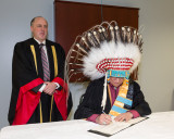 University of Sudbury President Pierre Zundel with Edmund Metatawabin