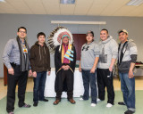 Edmund Metatawabin with the Ghost River Drummers
