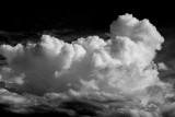 Clouds above the Moose River. Black and white.