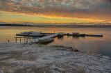 Two Bay docks in Moosonee just before sunrise.