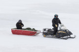 Snowmobile and sled on the Moose River 2015 December 23rd.