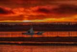 Barge Niska I on the Moose River before sunrise 2016 October 31st
