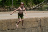 Adrian Jumping Into Water from Ponca Bridge