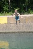 Adrian Jumping in At Ponca Access Bridge