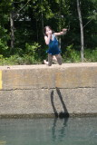 Helen Jumping in At Ponca Access Bridge
