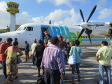 Curacao airport boarding a Insel Air flight to Aruba