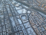 New York City flying over Yankee stadium