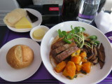 Vigin Australia meal in business class Brisbane to Melbourne