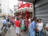Port Louis part of a queue about 200 metres long
