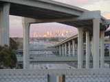 downtown Los Angeles from harbor freeway station