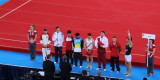 The finalists for the men's floor exercise