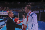 Dan Keating receives his gold medal from the Earl of Wessex