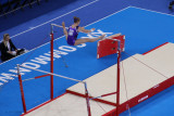 Canadian gymnast on the uneven bars