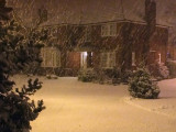 Snow shower in Glasgow at night