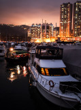 Sampan and Yacht in the Typhoon shelter