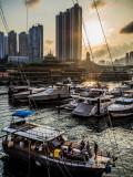 Saturday sunset over Aberdeen Harbour, Hong Kong