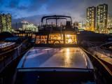 Evening aboard Watermark, Aberdeen Typhoon Shelter, Hong Kong