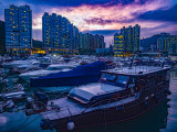 Friday evening sunset in the Typhoon Shelter