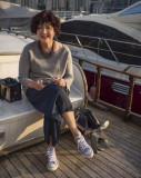 Joanna aboard Watermark.  November morning.