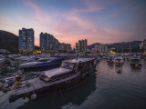 Sunset from the deck of Watermark, Aberdeen Typhoon Shelter, Hong Kong