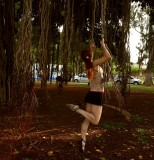 Banyan tree root gymnastics 4 (with Plumeria flower in the hair)