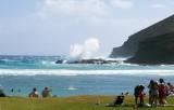 Hanauma Bay waves hitting rocks 1
