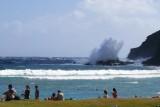 Hanauma Bay waves hitting rocks 2