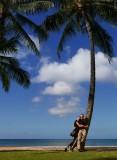 Us under a palm tree (Waikiki beach)