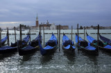 Parked Gondolas in front of St. Mark's Square
