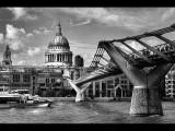 St Paul's & Millennium Bridge (mono}