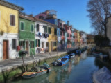 Row of Pastel Cottages-Burano