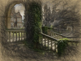 House through arch