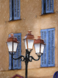 Blue shutters and Lamp post