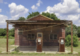 An old station in Lexington, TX. They are selling gas at 37.9 cents per gallon.