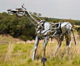 The steel horse sculpture, titled  Hi-Ho.