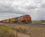 BNSF southbound manifest train along I-25.