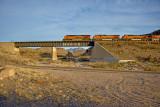 BNSF east bound stack train-Kingman Canyon-AZ.