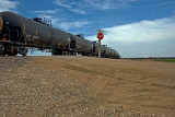 Empty oil train entering load out area.