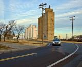 Carrier, OK concrete grain elevators.