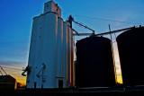 Dacoma,  OK grain elevator-sunset.