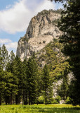 Towering granite wall as viewed from the Zumwalt Meadow Trail in Kings Canyon National Park