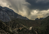 Dark clouds and rain along the Kings Canyon Scenic Byway