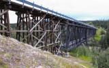 The Kuskulana Bridge, originally a railroad bridge built in 1910, along the McCarthy Road in Wrangell-St Elias National Park