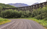 The old Gilahina railroad trestle along the McCarthy Road in Wrangell-St Elias National Park