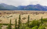 Moraine, deposited by erosion, on Kennicott Glacier in Wrangell-St Elias National Park